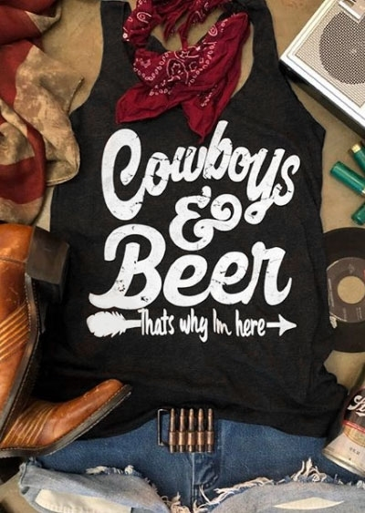 "COWBOYS & BEER TANK Black  White ""Cowboys & Beer That's Why I'm Here"" Cowgirl Tank Top"