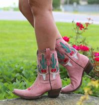 JUNK GYPSY BOOTS Green Cactus Floral Overaly Pink Leather Cowgirl Boots by Lane