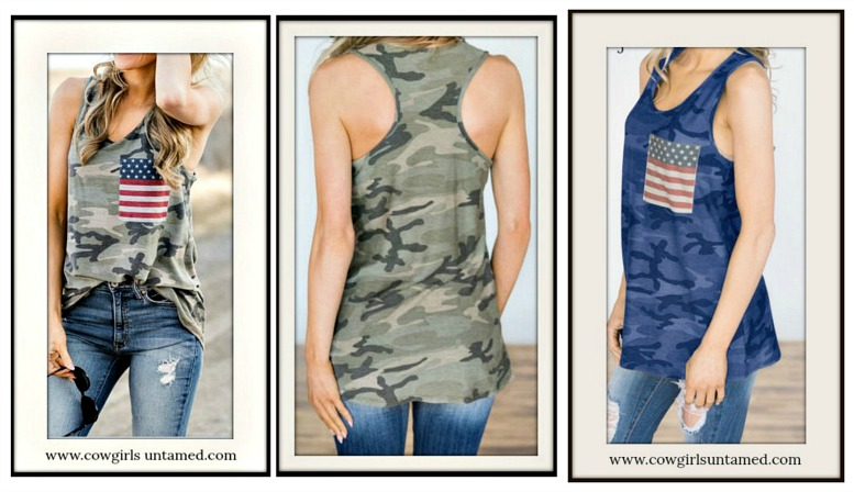 AMERICAN PRIDE TOP USA Flag Pocket Camo Racerback Tank Top