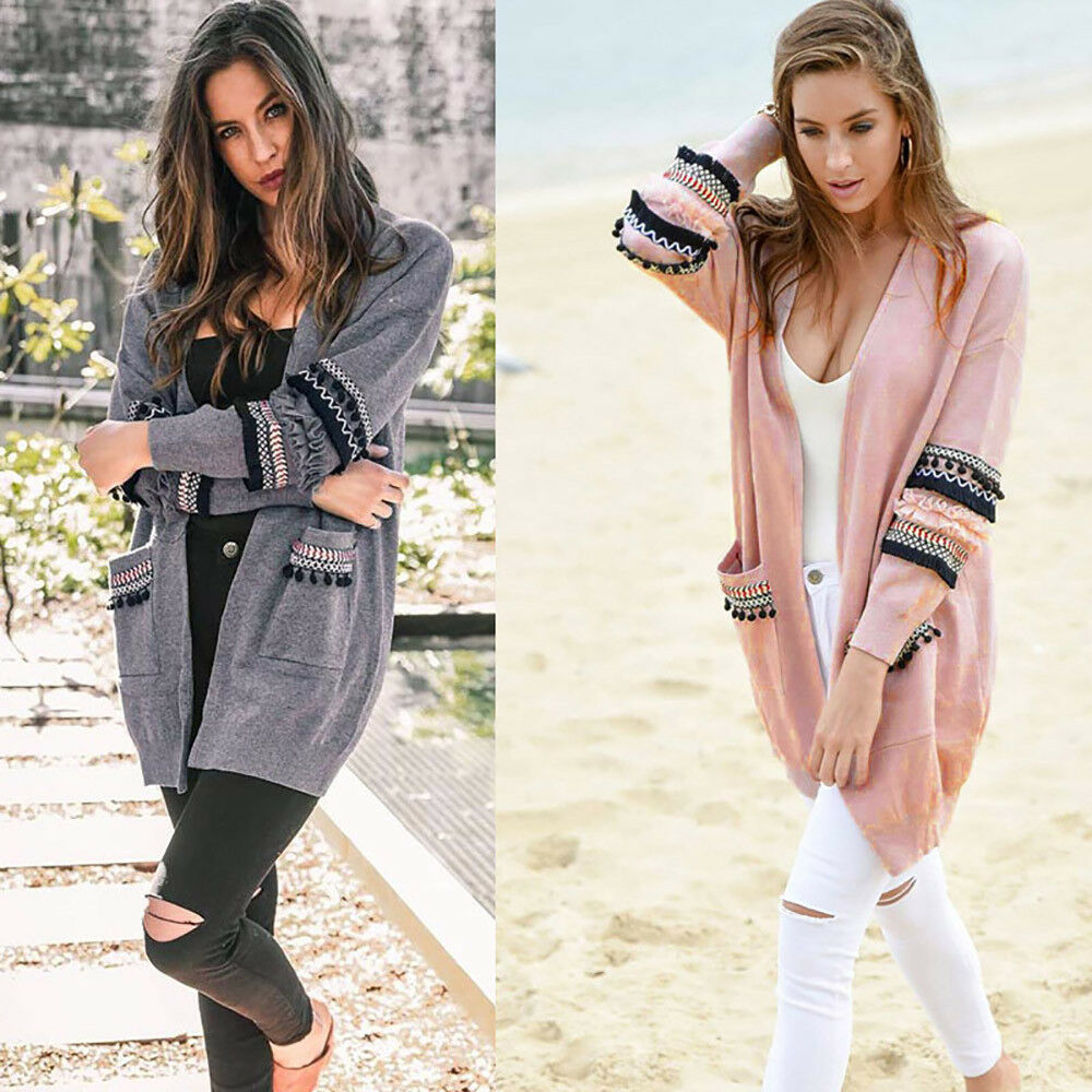 EYE OF THE BEHOLDER CARDIGAN  Embellished Pom Pom Long Sleeve BOHO Duster Sweater 2 COLORS