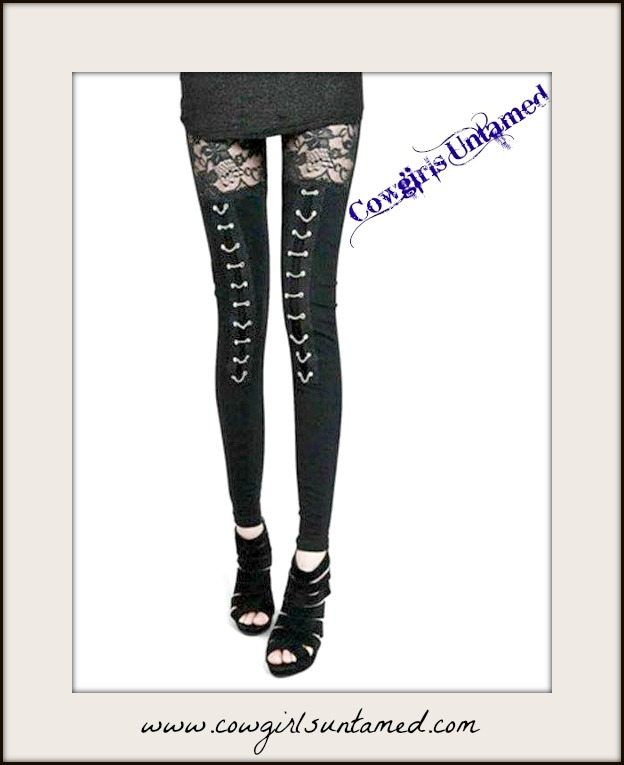 COWGIRLS ROCK LEGGINGS Black Lace N Silver Chain on Jersey Cotton Leggings