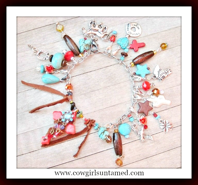 "COWGIRL RANCH QUEEN BRACELET ""Follow Your Heart"" & Red Turquoise Chunky Charm Western Bracelet"