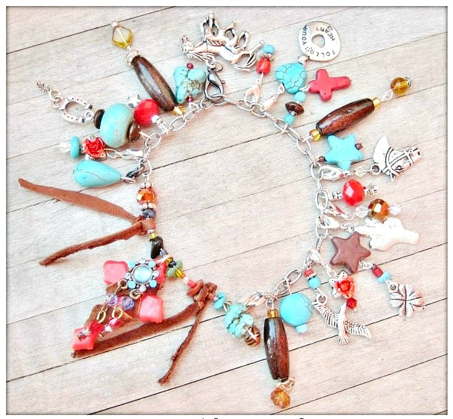 "COWGIRL RANCH QUEEN BRACELET Custom ""Follow Your Heart"" & Red Turquoise Chunky Charm Western Bracelet"