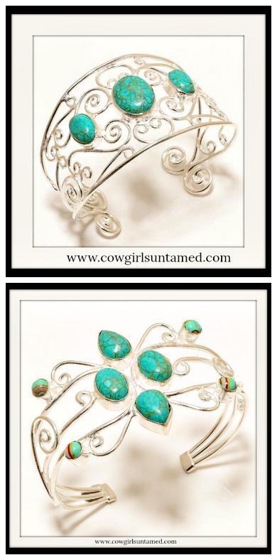 BOHEMIAN COWGIRL BRACELET Copper Turquoise Gemstone .925 Sterling Silver Cuff Bracelet
