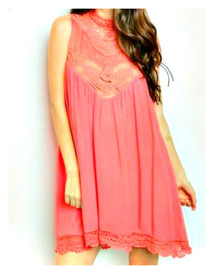 WILDFLOWER DRESS Coral Lace Crochet High Neckline Sleeveless Cotton Boho Mini Dress  LAST ONE  M/L