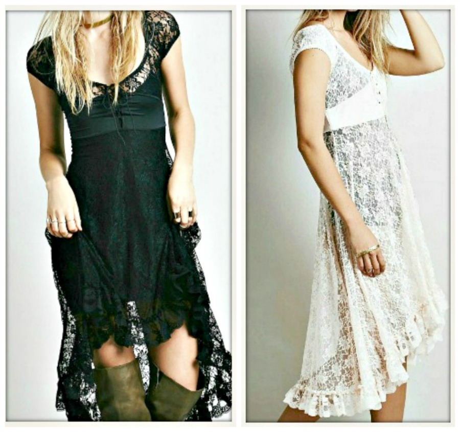 COWGIRL GYPSY DRESS Lace High Low Corset Bust Boho Dress
