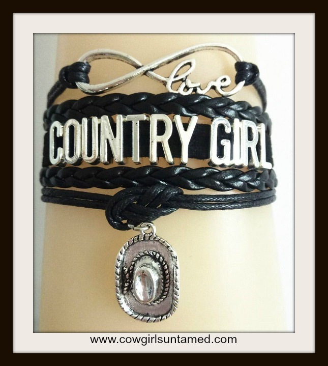 "COUNTRY COWGIRL BRACELET Multi Strand Leather with Silver ""COUNTRY GIRL"" & Cowgirl Hat & Charm Bracelet"