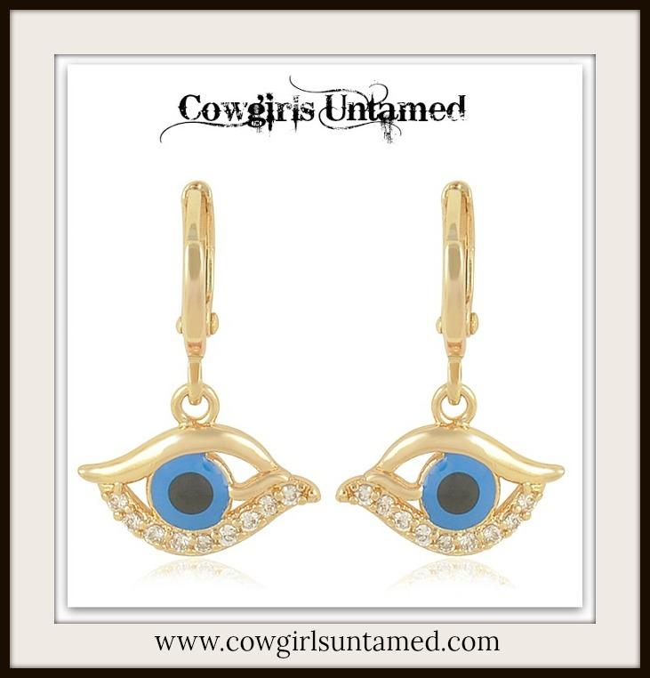 COWGIRL GYPSY EARRINGS Dark Blue Enamel Evil Eye Cubic Zirconia 9K Gold Filled Boho Earring