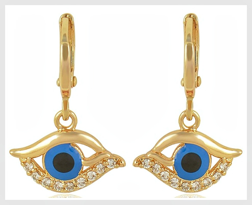 EVIL EYE EARRINGS Dark Blue Enamel Evil Eye Cubic Zirconia 9K Gold Filled Boho Earring