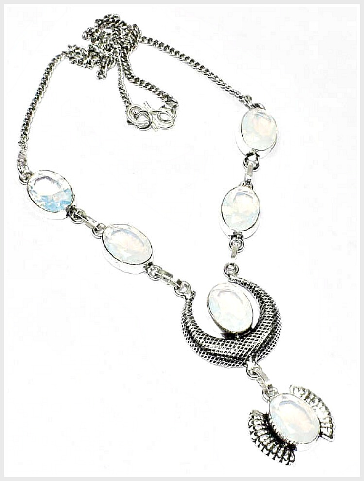 BOHO COWGIRL NECKLACE Faceted Milky Opal Gemstone 925 Silver Necklace