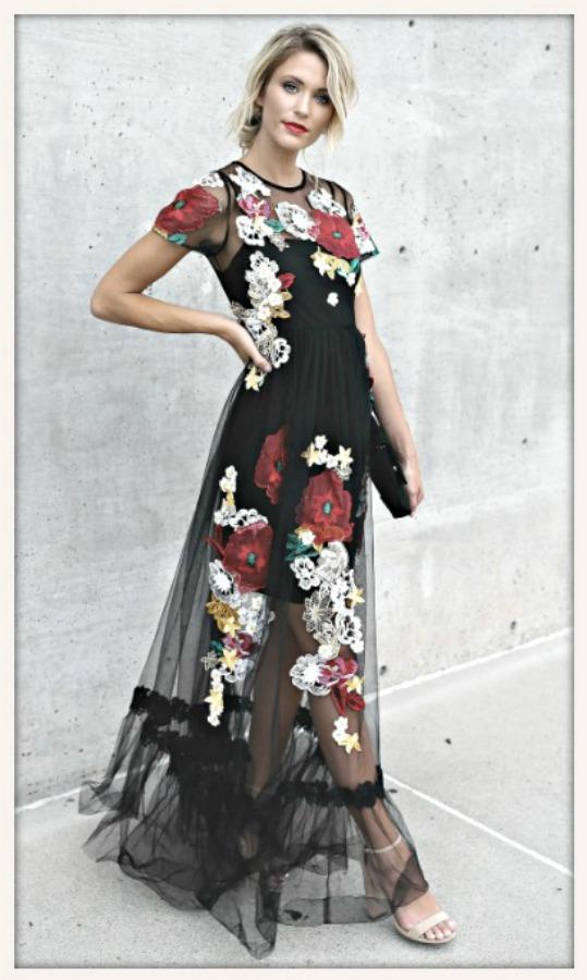 BOHO CHIC DRESS Beautiful Floral Embroidery on Black Mesh Maxi Dress  LAST ONE  L