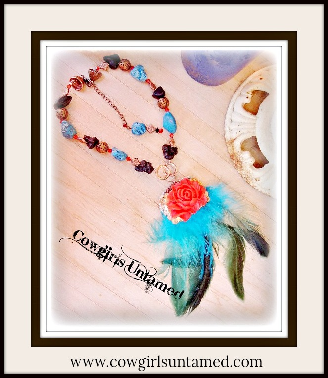 RETRO STYLE NECKLACE Copper Concho with Red Rose Rhinestones Trim & Turquoise Feather Necklace