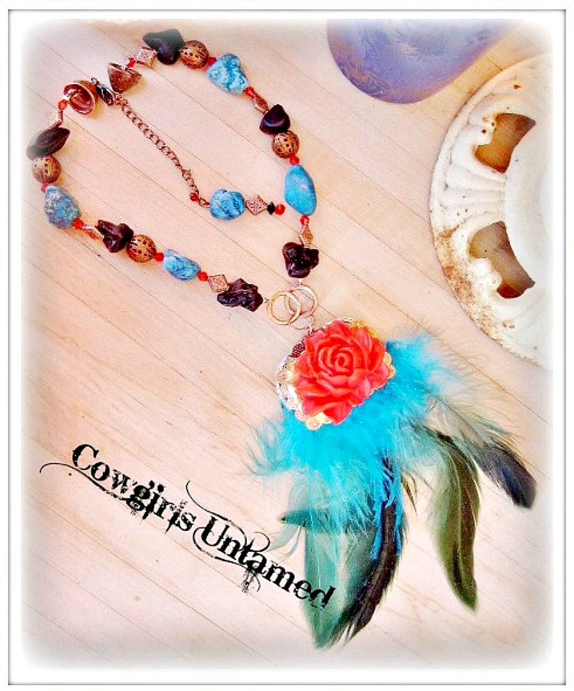 FLAUNT YOUR FEATHERS NECKLACE Copper Concho with Red Rose Rhinestones Trim & Turquoise Feather Necklace
