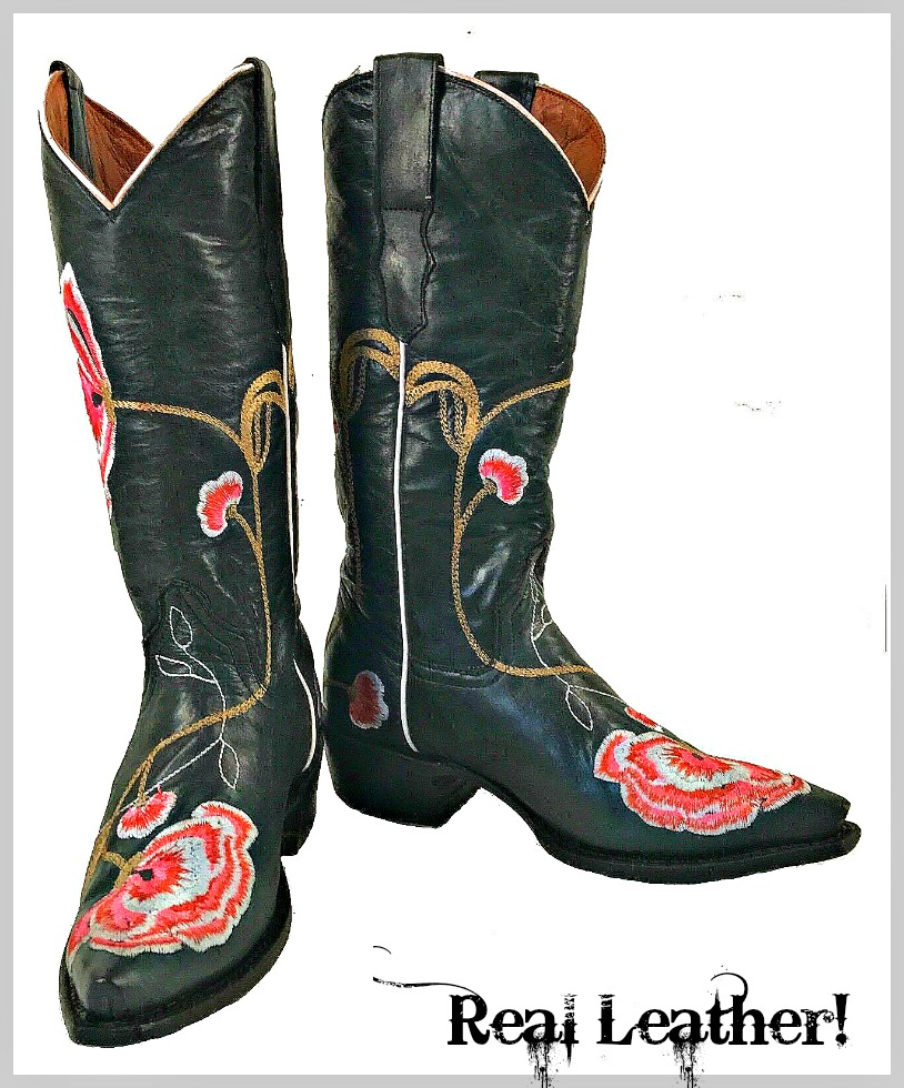 COWGIRL GYPSY BOOTS Pink Floral Embroidery Black GENUINE LEATHER Snip Toe Western Boots Sizes 5-9.5