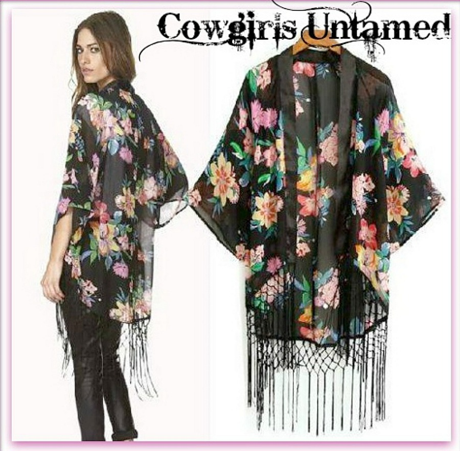 COWGIRL GYPSY JACKET Floral N Fringe Black Chiffon Kimono Style Western Jacket LAST ONE!