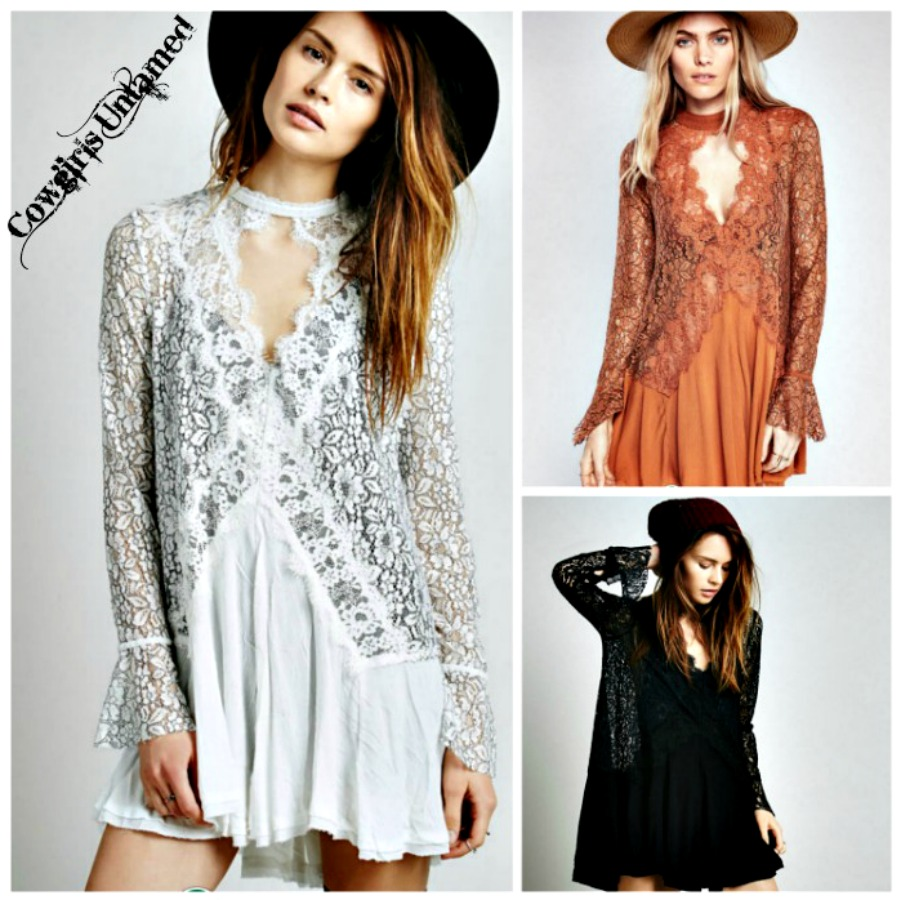 BOHEMIAN COWGIRL DRESS High Neck Long Sleeve Semi Sheer Boho Mini Dress