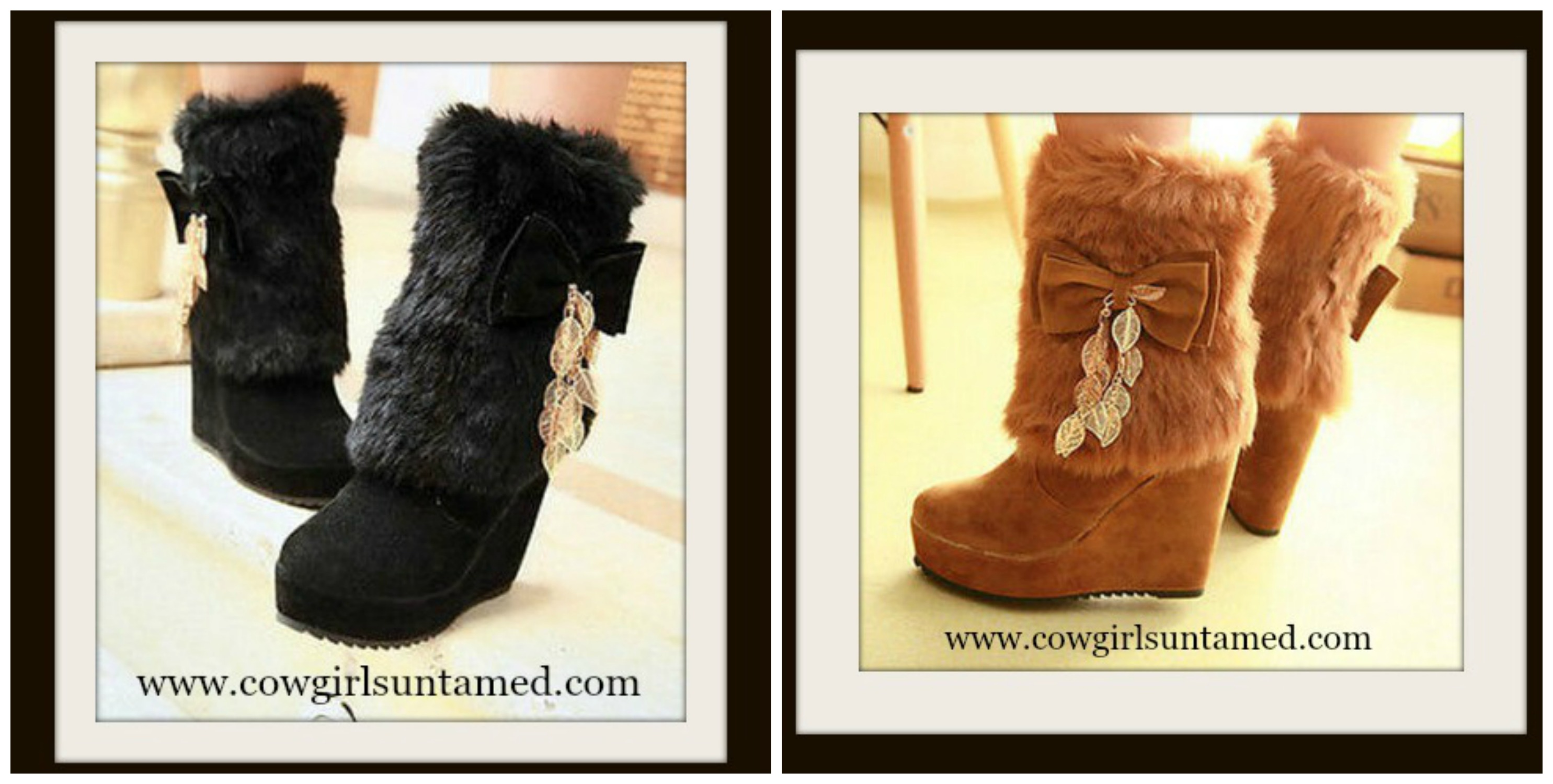 COWGIRL ATTITUDE BOOTS Fur, Bow & Chain Heel Winter Western Boots