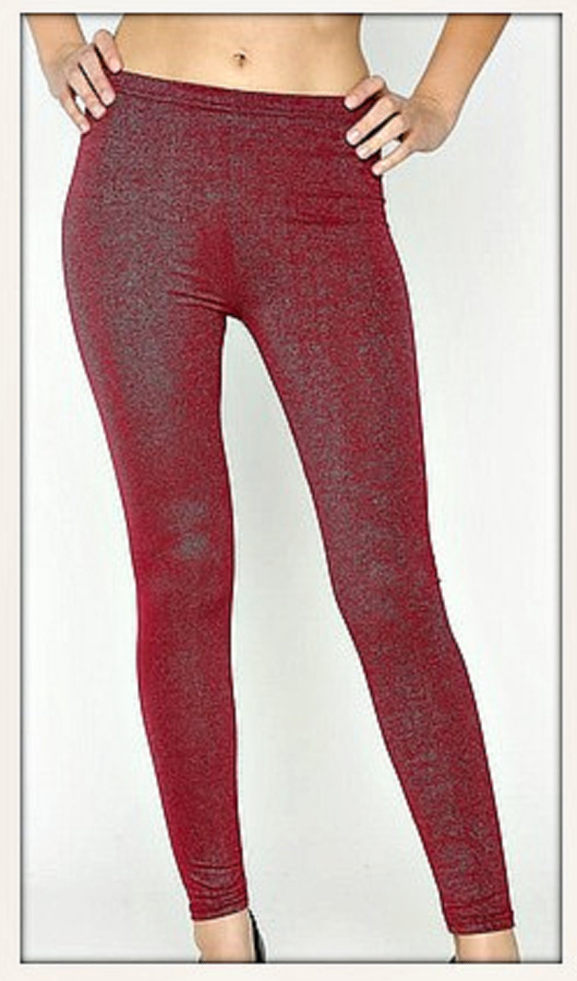 GOING GLAM LEGGINGS Red Burgundy Wine Sparkly Womens Party Leggings  LAST PAIR!
