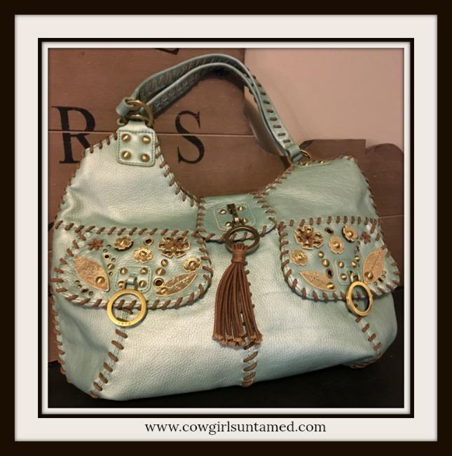 BOHEMIAN COWGIRL HANDBAG Metallic AquaBlue Embellished Leather Handbag