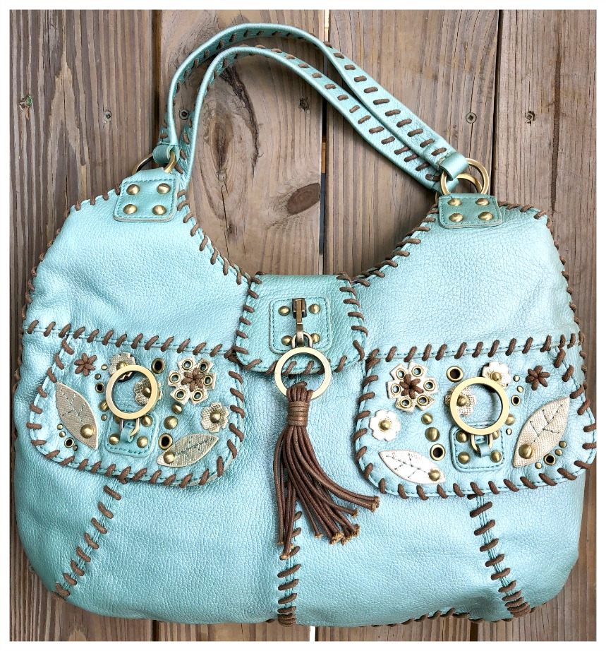 BOHEMIAN COWGIRL HANDBAG Metallic Aqua Blue Embellished Leather Handbag  LAST ONE!