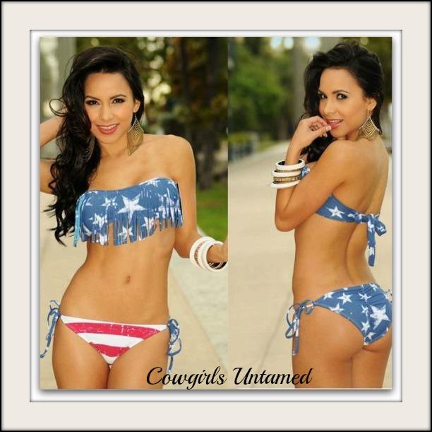 AMERICAN COWGIRL BIKINI Red White & Light Blue Stars N Stripes Flag Fringe Scrunch Bottom Western String Bikini