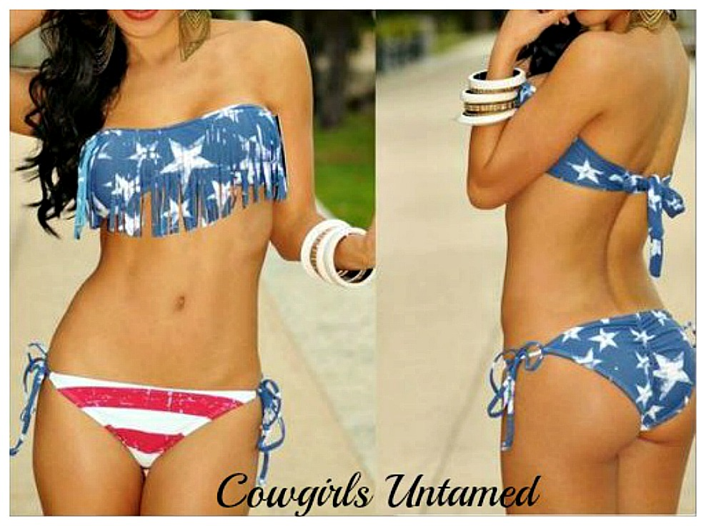 AMERICAN COWGIRL BIKINI Red White & Light Blue Stars N Stripes Flag Fringe Scrunch Bottom Western String Bikini