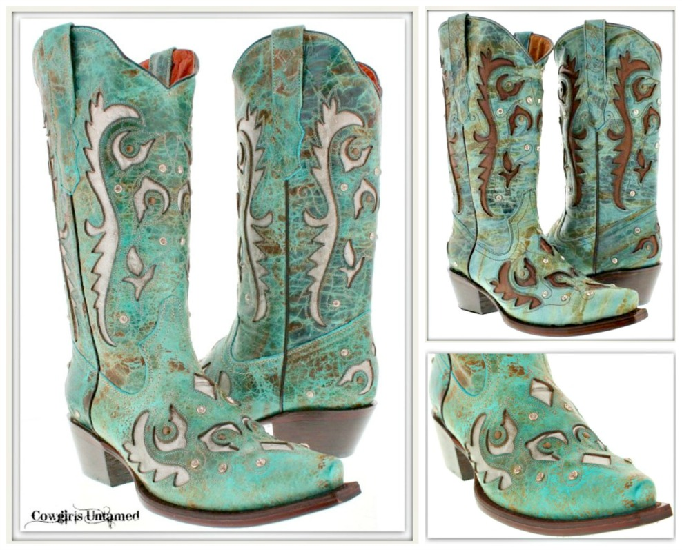 RHINESTONE COWGIRL BOOTS Crystal Studded Embroidered Inlay GENUINE LEATHER Boots  2 COLORS! Sizes 5-10.5