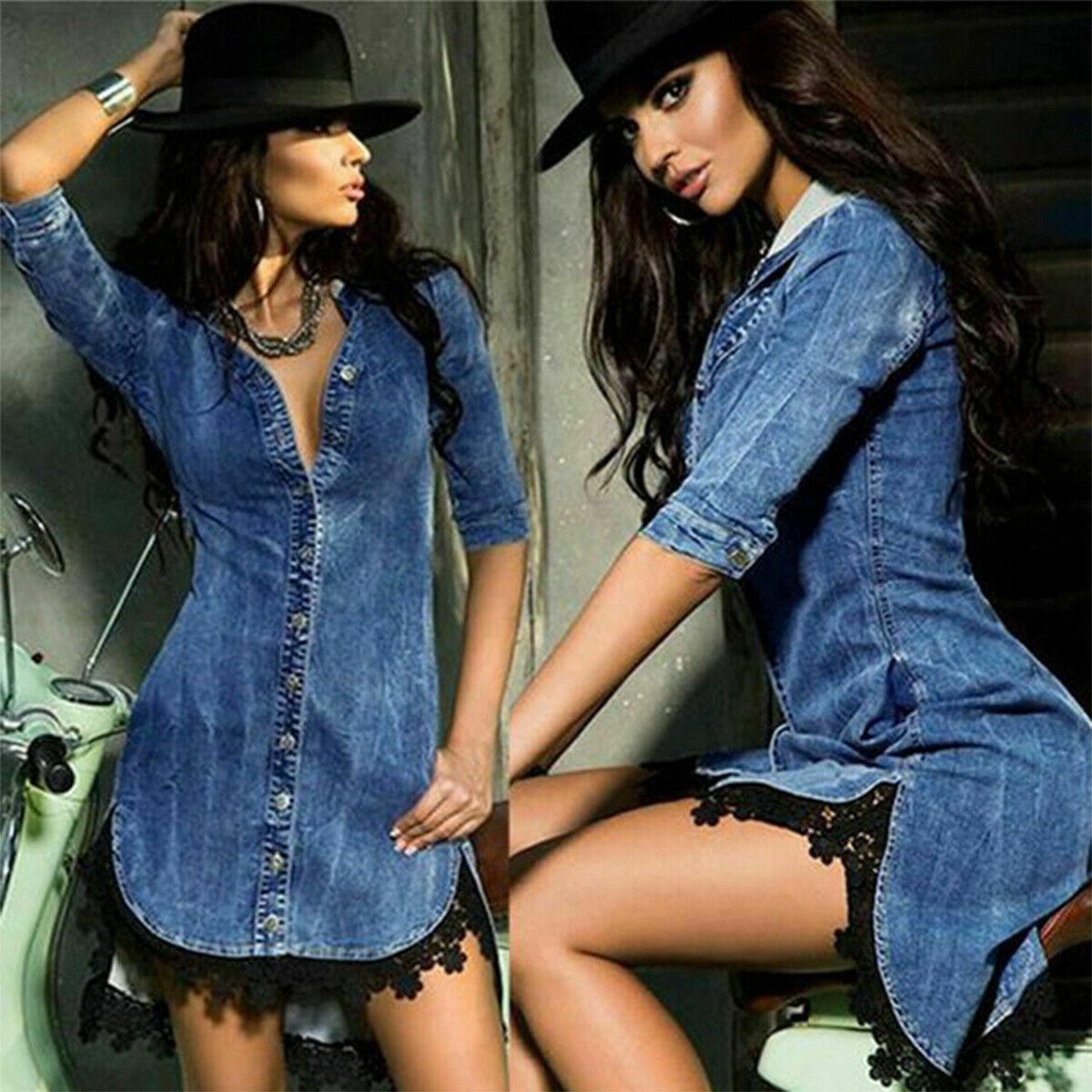 THE JENNIFER DRESS Dark Wash Blue Stretchy Jean Button Down 3/4 Sleeve High Low Black Lace Trim Collar Sheath Short Dress