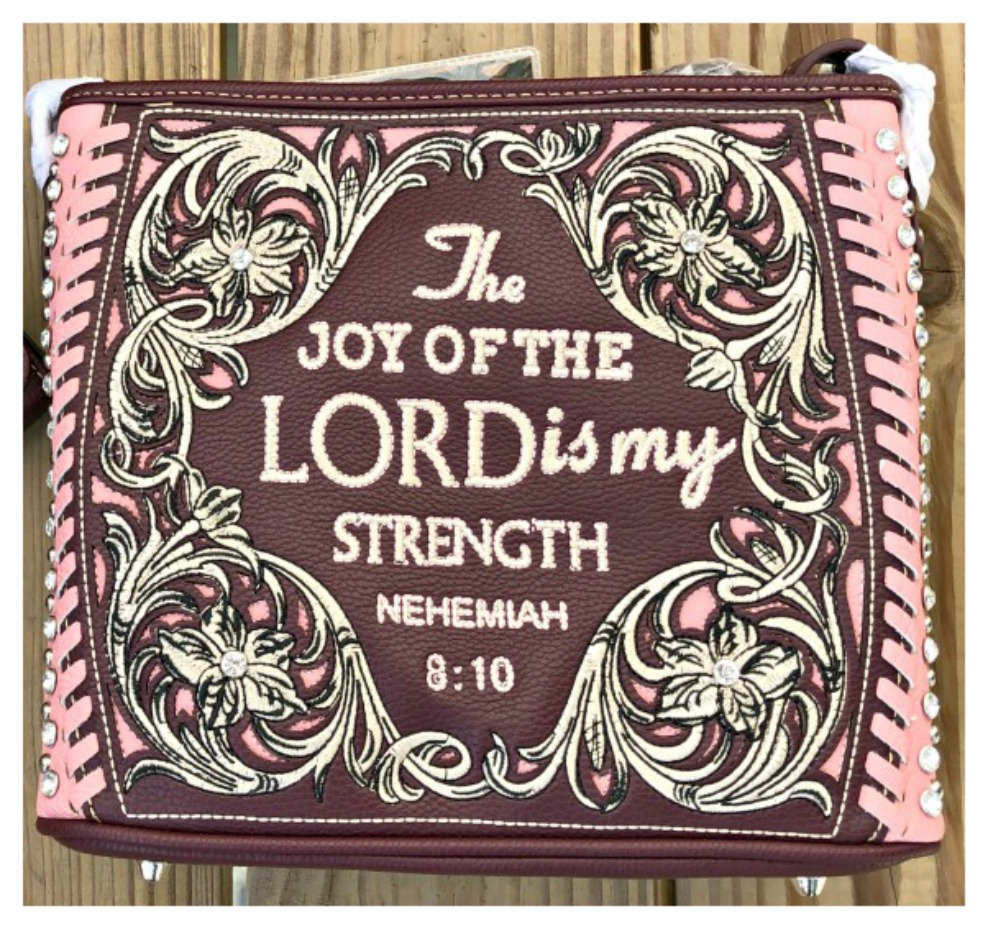 "CHRISTIAN COWGIRL HANDBAG ""The Joy of The Lord is My Strength"" Rhinestone Studded Burgundy Leather Handbag"