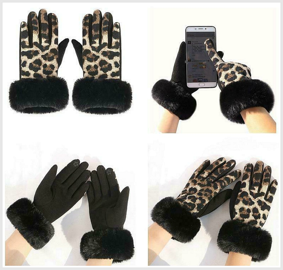 GETTIN' WILD GLOVES Black Faux Fur Trim Brown Leopard Fall Winter Womens Touchscreen Gloves