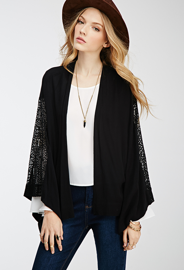 THE CHERYL KIMONO Black Crochet Lace Panel Sleeve & Back Open Womens Kimono Jacket Cardigan LAST ONE M/L