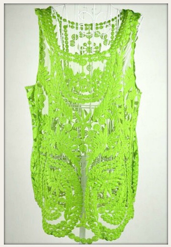 COWGIRL GYPSY TANK TOP Green Sheer Crochet Lace Sleeveless Western Top
