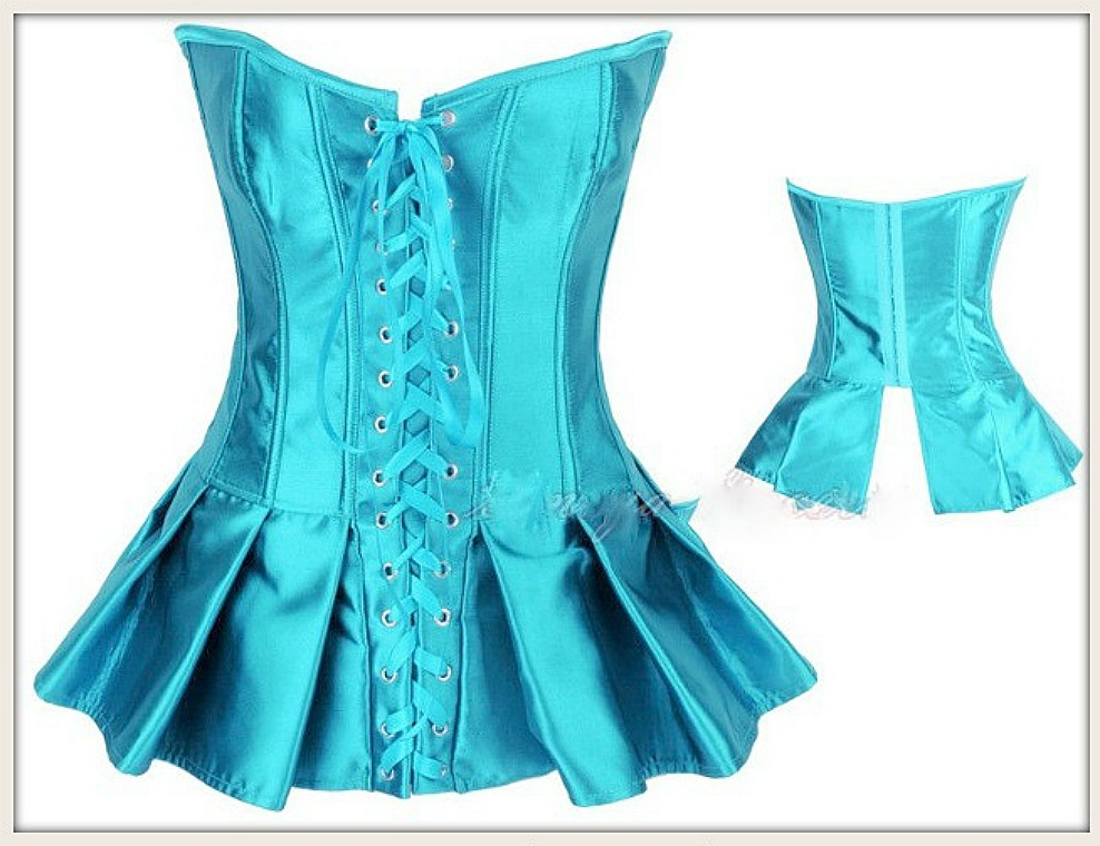 CORSET - Turquoise Satin Lace Up Front Peplum Corset Top LAST ONE L