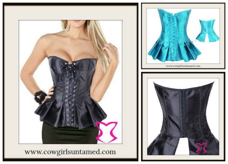 CORSET - Turquoise Satin Lace Up Front Peplum Corset Top
