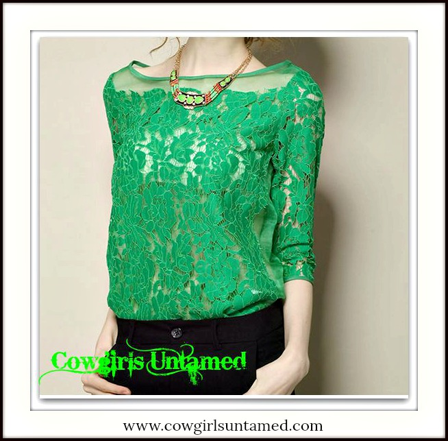 COWGIRL GLAM TOP Green Lace on Mesh 3/4 Sleeve Blouse