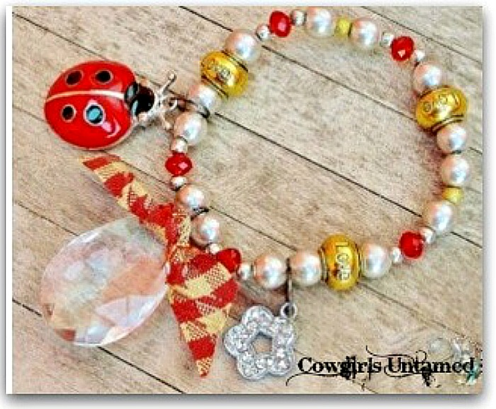 "COUNTRY COWGIRL BRACELET Custom Antique Silver & Gold ""LOVE"" Large Crystal Red Ladybug Rhinestone Flower Multi Charm Western Stretch Bracelet"