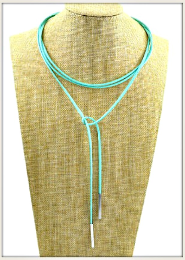 BOHEMIAN COWGIRL NECKLACE Gold Tipped Leather Lasso Necklace Choker 2 Black or Aqua