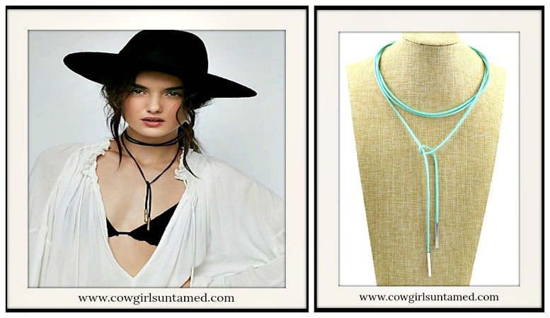BOHEMIAN COWGIRL NECKLACE Gold Tipped Leather Lasso Necklace Choker