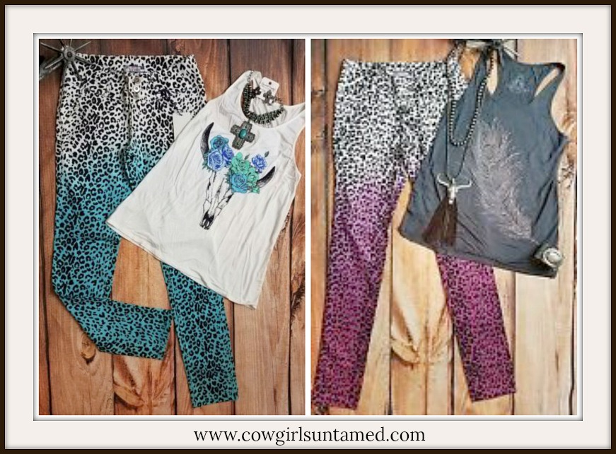 CLASSY COWGIRL JEANS Ombre Leopard Skinny Jeans