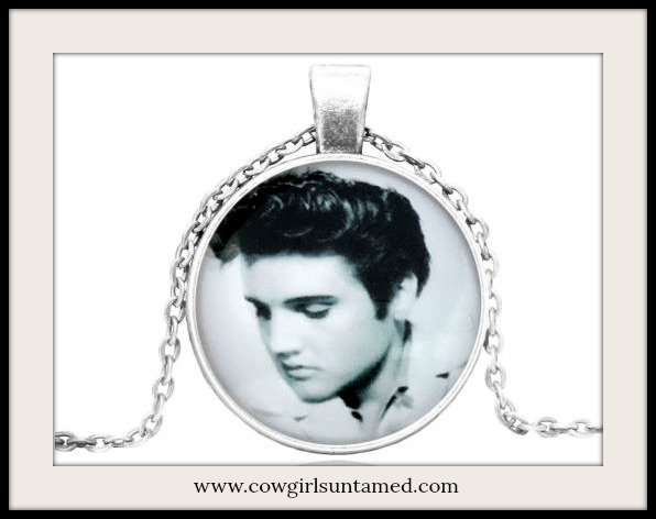 LAVONNE & VIOLET NECKLACE Silver Elvis Presley Silver Pendant Necklace