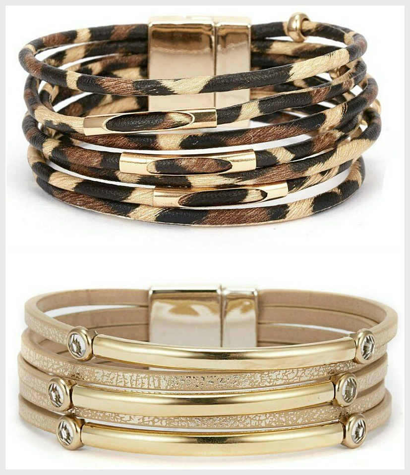 ON THE PROWL BRACELET Animal Print Multi Strand Leather Magnetic Closure Gold Bracelet