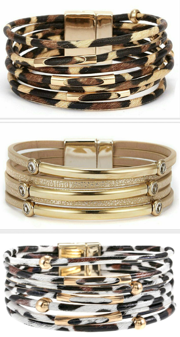 ON THE PROWL BRACELET Animal Print Multi Strand Leather Magnetic Closure Gold Bracelet 3 STYLES