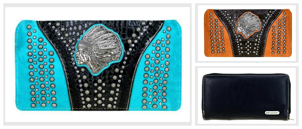 THE CHIEFTAIN WALLET Antique Silver Indian Chief Concho & Studded Leather Boho Wallet