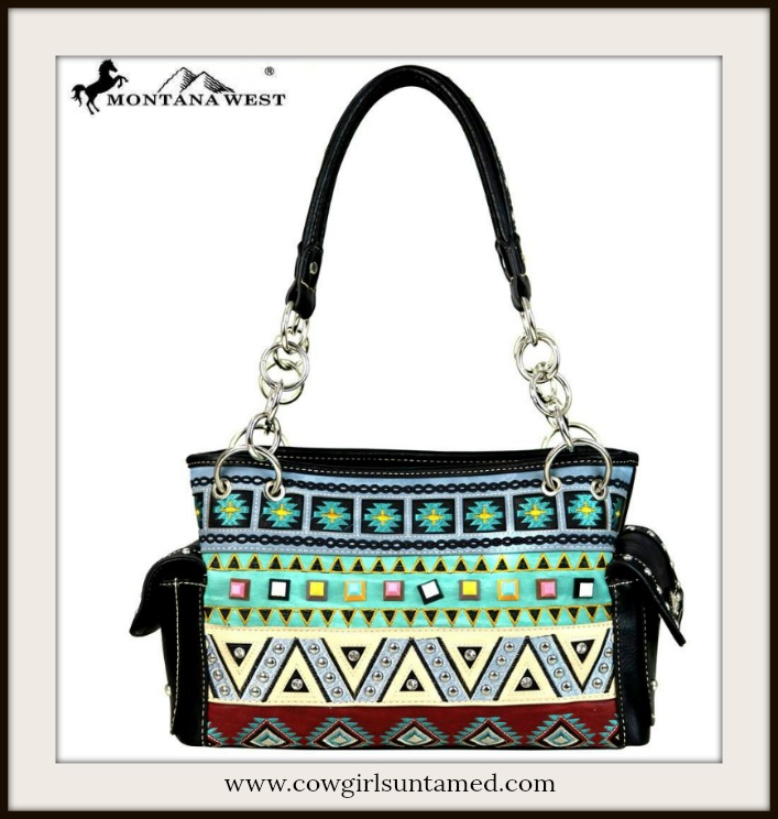 COWGIRL GYPSY HANDBAG Multi Color Aztec Embroidery on Designer Black Satchel