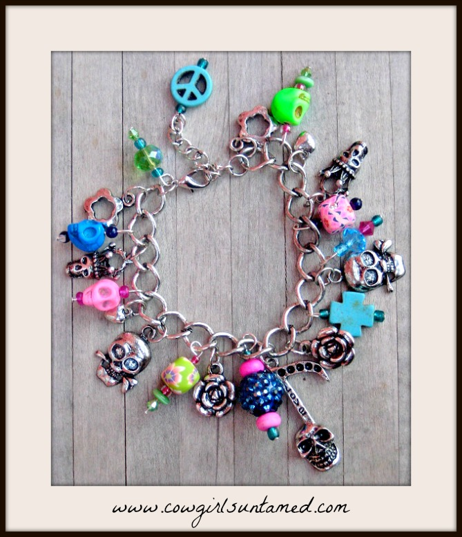 COWGIRLS ROCK BRACELET Neon Pink N Green Turquoise Antique Silver Charm Bracelet