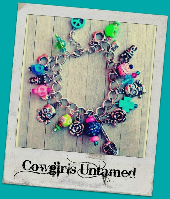 COWGIRLS ROCK BRACELET Neon Pink N Green Turquoise Skull Cross Peace Sign Antique Silver Western Charm Bracelet