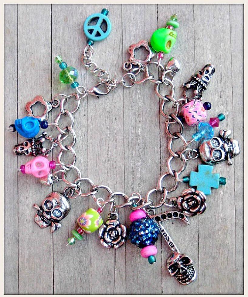 COWGIRLS ROCK BRACELET Custom Neon Pink N Green Turquoise Antique Silver Charm Bracelet