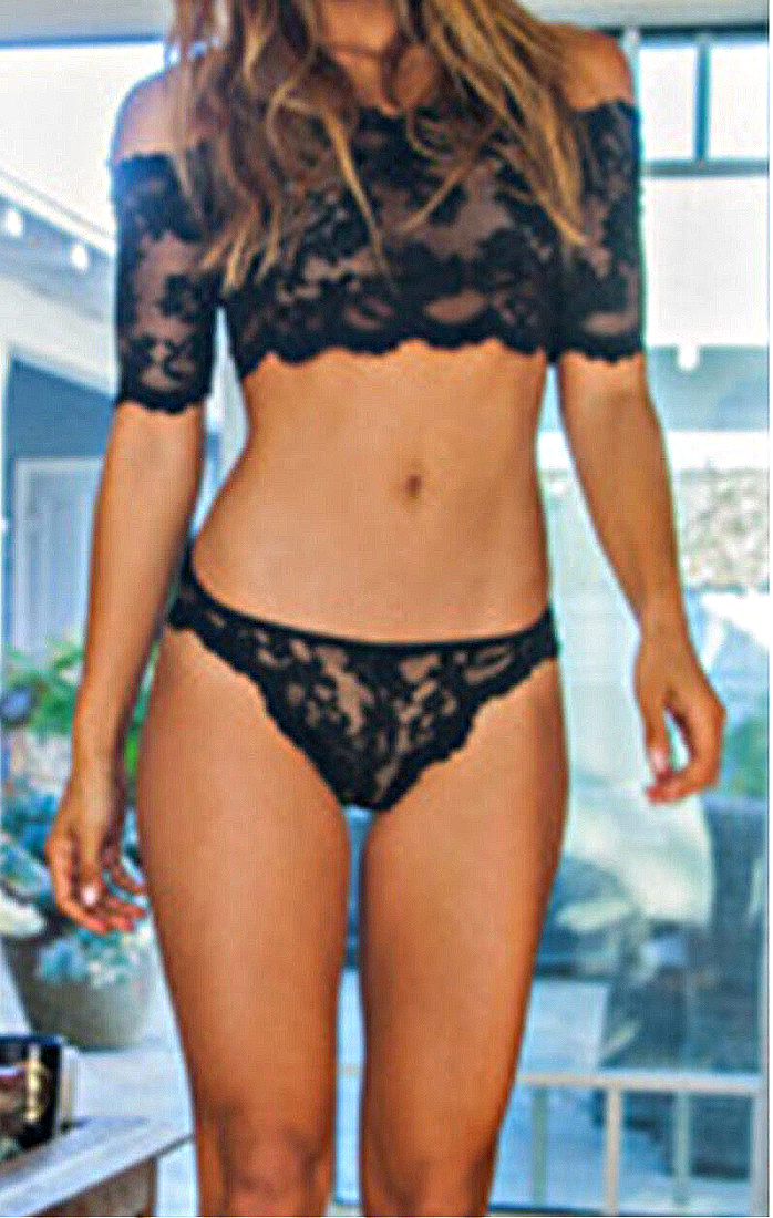 COWGIRL GLAM LINGERIE Sexy Off the Shoulder Black lace bra & Panty Set