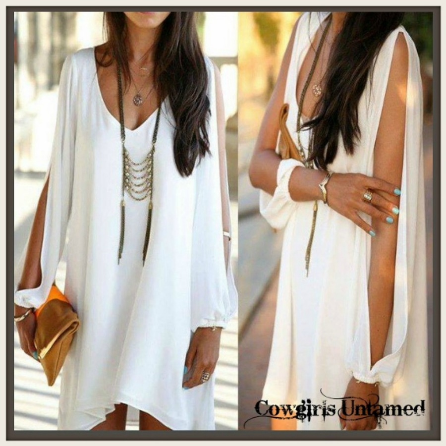 COWGIRL GYPSY DRESS White Slit Long Sleeve Hi Low Hemline Dress / Tunic Top