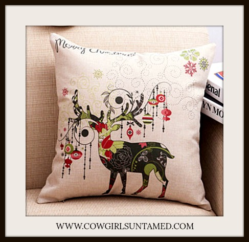 "COWGIRL CHRISTMAS DECOR Colorful Reindeer & Ornament ""Merry Christmas"" Vintage Style Pillow Case"